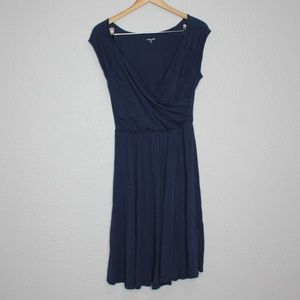 Garnet Hill Navy Blue V- Neck Midi Length Dress S